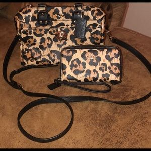 Coach Cheetah Crossbody style purse with wallet